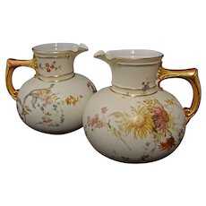 Pair Antique Royal Worcester Pitchers / Jugs Gilt Handles 1376 - 1889 English Registry Number, England