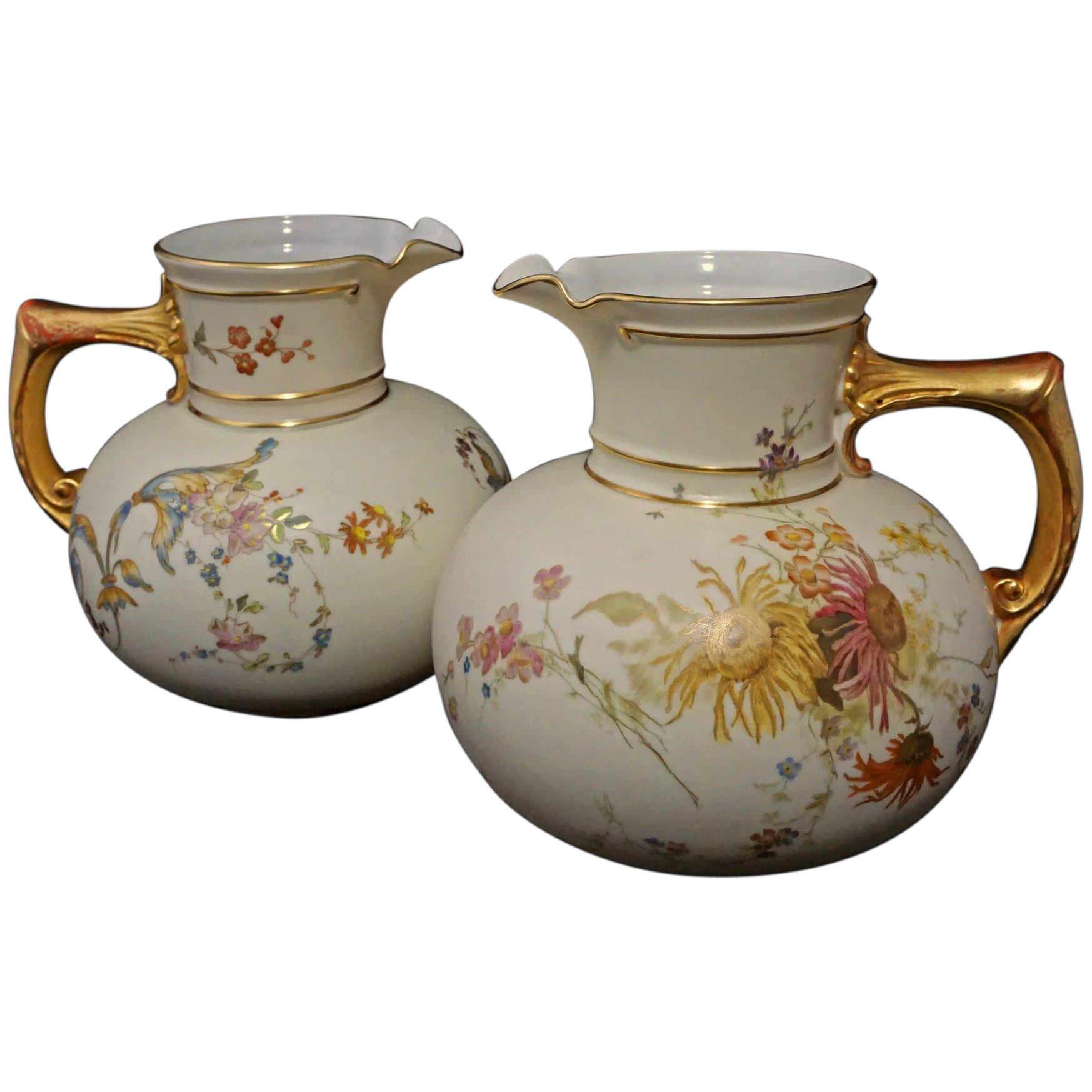 Pair Antique Royal Worcester Pitchers