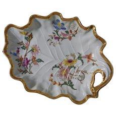 Antique Royal Worcester Leaf Shaped Plate Bowl Gilt Floral - 1891, England