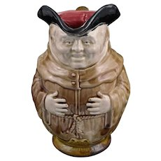French Majolica Franciscan Friar Pitcher Onnaing Brother Brown Robe 706 - circa 1900, France