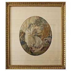 Antique Young Shepherdess Silkwork Needlework Embroidered Picture Silk Mat Framed - circa 1830