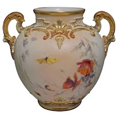 Antique Royal Worcester Globe Vase Shape 1515 Large Handled - 1892, England