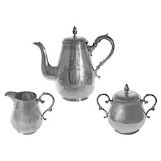 Tiffany & Co. 3 Pc Tea Set Pot, Cream, Sugar Hawksworth, Eyre Co. EP Bachelor Service - 1885 Pattern Number, England