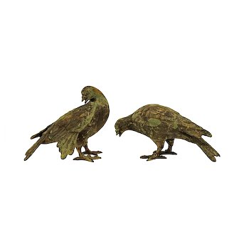 Pair Japanese Dove / Pigeon / Bird Patinated Cast Iron Japan