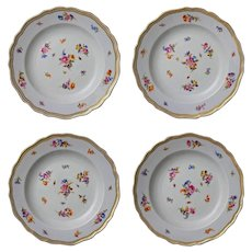 Set 4 early Meissen Crossed Swords Floral Dessert Dishes - 1815-1924 mark, Germany