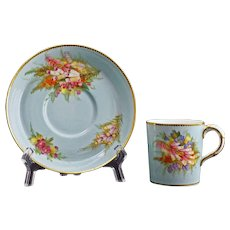 1889 Royal Worcester Demitasse Cabinet Cup Saucer Pale Aquamarine 9531 D - 19th Century, England
