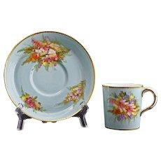 1889 Royal Worcester Demitasse Cabinet Cup Saucer Pale Aquamarine 9531 D - 19th Century, England