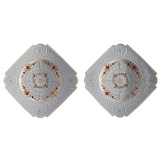 Pair Aesthetic Movement Hermann Ohme Square Porcelain Plates White Raised Relief - 1882 to 1900 mark, Silesia