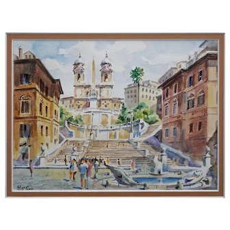 Spanish Steps Rome Watercolor Painting Framed Cityscape - 20th Century, Italy