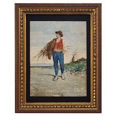 Antique Watercolor Signed C. Polidori Genre Painting Young Italian Man Peasant Holding Sheaf of Grass - circa 1890, Italy