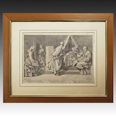 Antique Engraving Birth of St John the Baptist, Teodoro Cruger after Andrea del Sarto