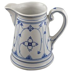 Blue White Pitcher Half Lace Danish Style 16 Fl. Oz. / Half Liter Porcelain