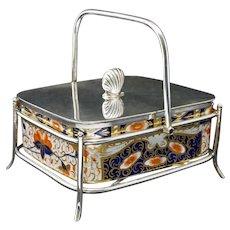 Davenport Sardine Box on Stand James Dixon & Sons Silver Plated English Porcelain Insert Imari Pattern - c.1870-86, England