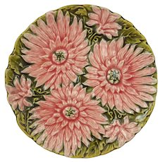 Schutz Cilli Antique Majolica Pink Double Sunflowers on Green Leaves Dish Plate Marked Numbered - 1900 to 1917 mark, Austro Hungary