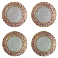 Le Tallec Tiffany Co. Private Stock Pink Gilt Fish Scale Dish Set Four ( 4 ) - 20th Century, Made in France