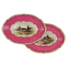 Pair Topographic Royal Worcester Porcelain Oval Bowls Hot Pink Border Landscapes - 1937, England