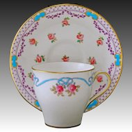 Minton Demitasse Cabinet Cup Saucer Porcelain Enamel - 1891-1912, England