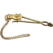 Antique Skirt Lifter Dress Chatelaine Hand Closed Fist Scroll Chain Brass Registered 1876 Signed G McD