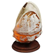 Large Conch Shell Lamp Carved Charriot Horses Maiden Cameo