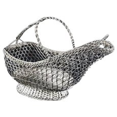 French Wine Basket / Caddy Silver Plated for IFS London England Panier a Vin