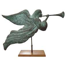Americana Folk Art Copper Angel Trumpet Horn Weathervane Full Body Verdigris on Stand