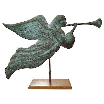 Americana Folk Art Copper Angel Trumpet Horn Weathervane Full Body Verdigris on Stand