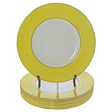 Set Six Minton Art Deco Yellow Porcelain Plates - 1925, England