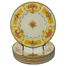Set Eight Royal Worcester C2115 Yellow Plates English Registry Number - 1922, England