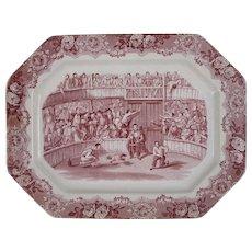 George Jones Spanish Festivities Cock Fight Red Transferware Platter - post 1891, England