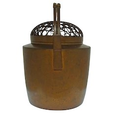 Japanese Bronze Te-bachi Hand Warmer Basket Weave Lid Double Handle - c. 1920 – 1930, Japan