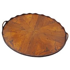 Antique Dutch Oval Tray Figured Walnut Veneer - 19th Century, Netherlands
