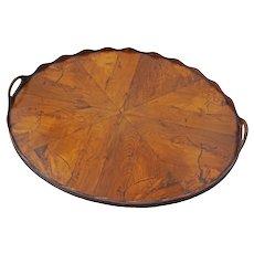 Antique Dutch Oval Tray Figured Walnut Veneer - 19th Century, Netherlands