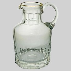 Signed Moser Crystal Pitcher Clear Gilt Rim - 20th Century, Bohemia