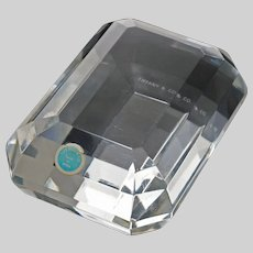 Tiffany & Co. Emerald Cut Clear Crystal Paperweight Signed and Label - 20th Century