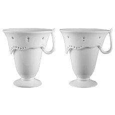 Pair Sevres Borek Sipek Service Semaine Tea Cups Signed White Porcelain - c. 1990, France