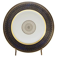 Sevres Cobalt Gilt Modern Geometric Porcelain Plate - 20th Century, France