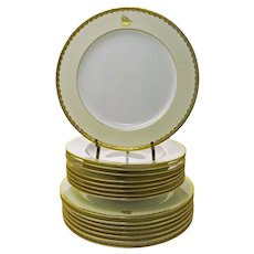 Set Minton for Tiffany & Co. Set Plates Bowls Raised Gold Ivory Pattern G9219 Nautical Sailing Ship - after 1902, England