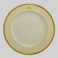 Minton Dinner Plate Raised Gold Ivory Pattern G9219 Nautical Sailing Ship - after 1902, England