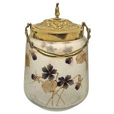 Antique WMF Cookie Jar Bronze Mount Original Enameled Glass Body Art Nouveau Period - circa 1900, Germany