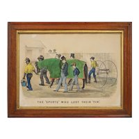 Currier & Ives after Thomas Worth The Sports Who Lost Their Tin Lithograph Print Americana USA