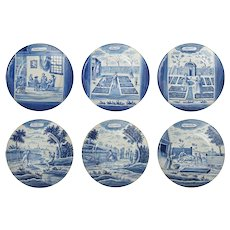 Set of Six Antique Dutch Delft Month Series Calendar Plates Blue and White