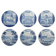 Set of Six Antique Dutch Delft Month Series Calendar Plates Blue and White