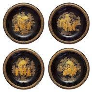 Set 4 Japanese Monks Lacquer Papier Mache Dishes Pagodas Gilt Black - c. 1900's, Japan