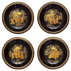 Set 4 Japanese Monks Lacquer Papier Mache Dishes Pagodas Gilt Black - c. 1900's, Japan