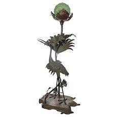 Heron Bronze Lamp Art Nouveau / Japanese / Orientalist Style
