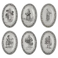 Set Six Mottahedeh Creil Style Grisaille French Trades Transferware Plates - 20th Century