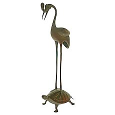 Japanese Crane Tortoise Bronze Tsurukame Shokudai Incense Stick Holder - c. 1920 – 1930, Japan