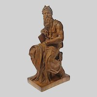 Terracotta Figure Seated Moses after Michelangelo - 20th Century, France