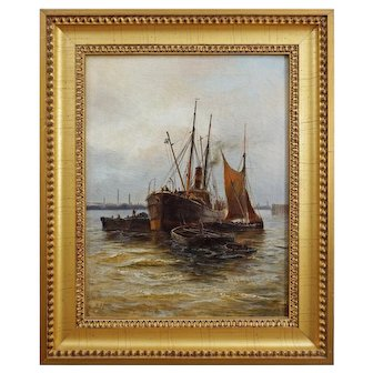Steamship Coal Barges Harbor Signed E. Fletcher English Oil on Canvas Painting - c. 1900's, England