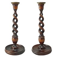 Pair Tall Oak Open Barley Twist Candlesticks Brass Bowls - England